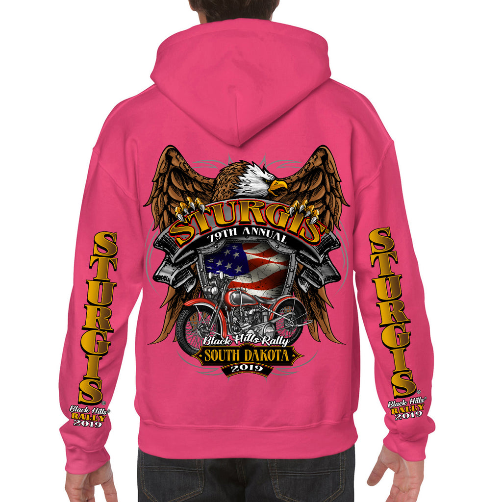 Back of 2019 Sturgis Rebel Rider Zipper Hoodie in Pink