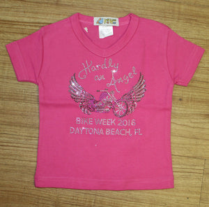 Toddler 2016 Bike Week Daytona Beach Rhinestone Hardly An Angel T-Shirt
