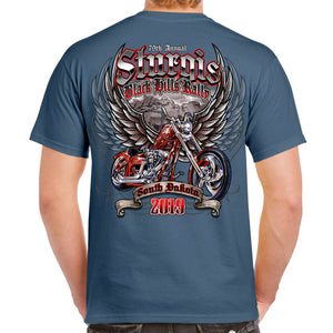 Back of 2019 Sturgis Rushmore Rider T-Shirt in Blue