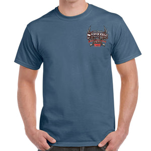 Front of 2019 Sturgis Rushmore Rider T-Shirt in Blue