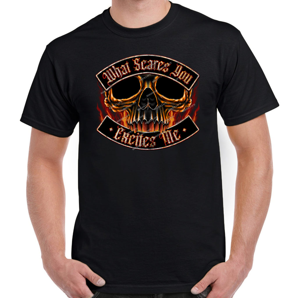 What Scares You Excites Me Flame Skull T-Shirt