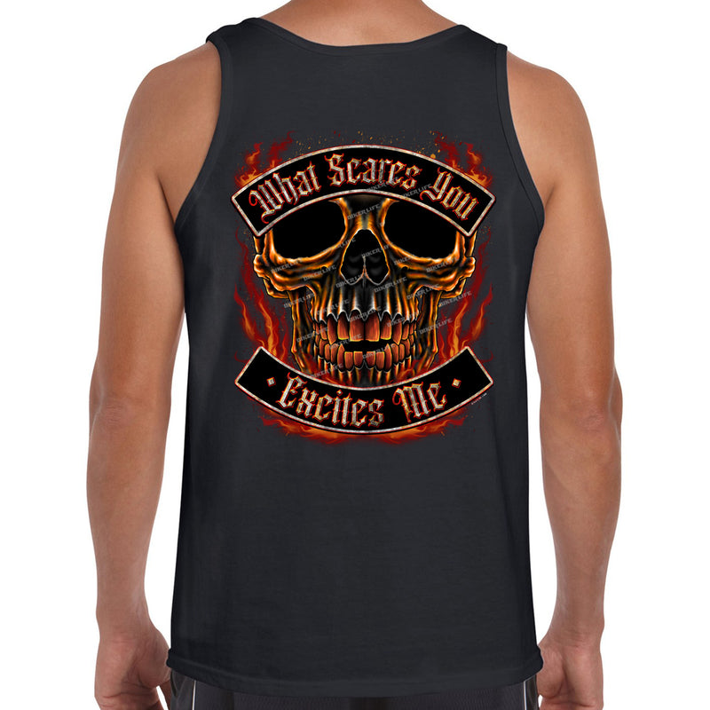 What Scares You Excites Me Flame Skull Tank Top