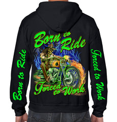 Born to Ride, Forced to Work Rider Zip Up Hoodie