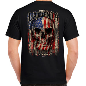 2020 Laconia Motorcycle Week Skull Flag T-Shirt