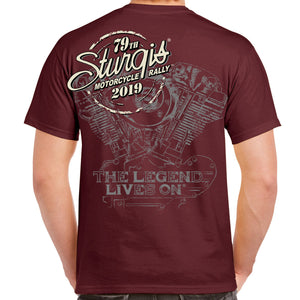 Back of 2019 Sturgis Legend Engine T-Shirt in Maroon