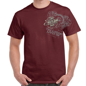 Front of 2019 Sturgis Legend Engine T-Shirt in Maroon