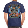 Back of 2019 Sturgis Skull Engine Rider T-Shirt in Blue
