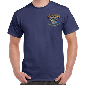 Front of 2019 Sturgis Skull Engine Rider T-Shirt in Blue