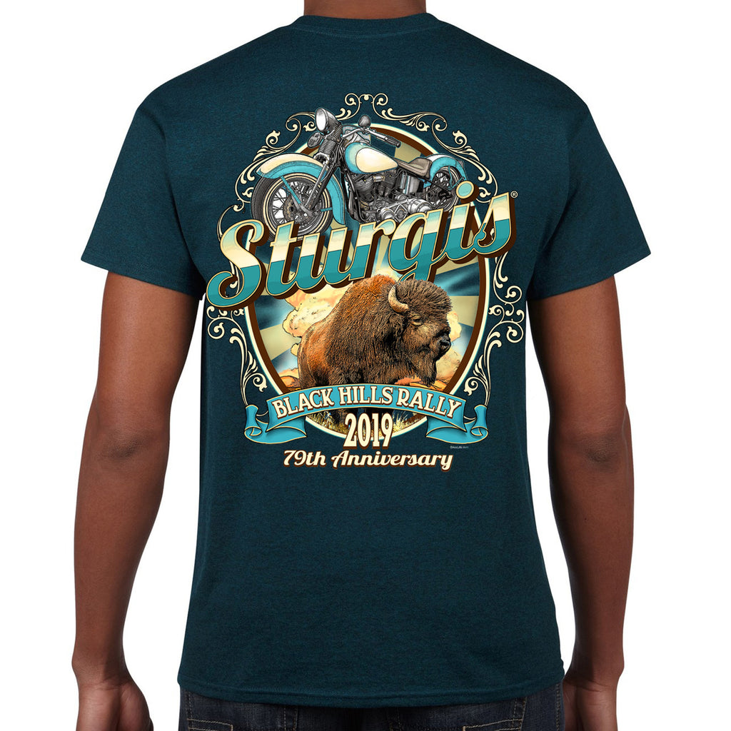 Back of 2019 Sturgis Buff My Low T-Shirt in Blue Green