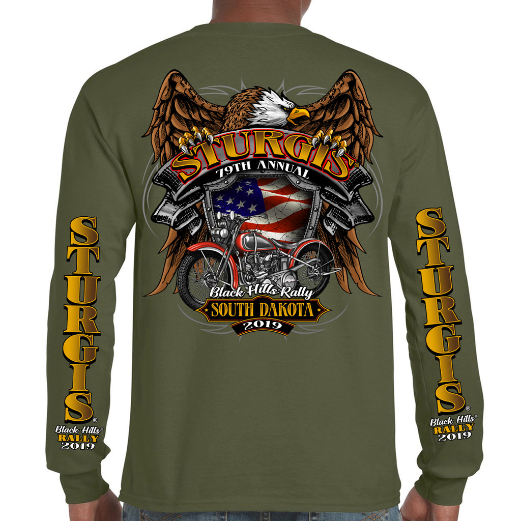 Back of 2019 Sturgis Rebel Rider Long Sleeve in Military Green