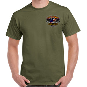 Front of 2019 Sturgis Rebel Rider T-Shirt in Military Green