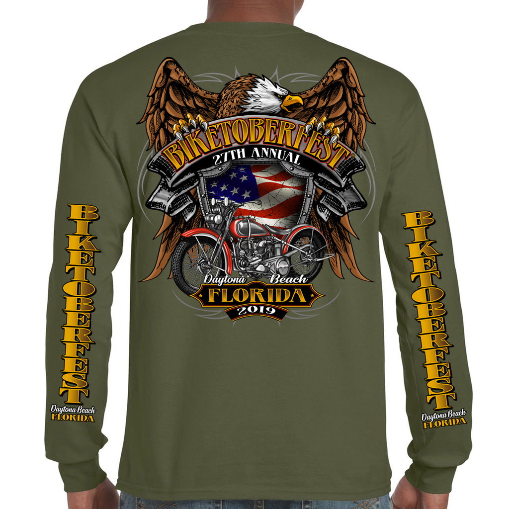 Back of 2019 Biketoberfest Rebel Rider Long Sleeve in Military Green