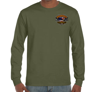 Front of 2019 Biketoberfest Rebel Rider Long Sleeve in Military Green