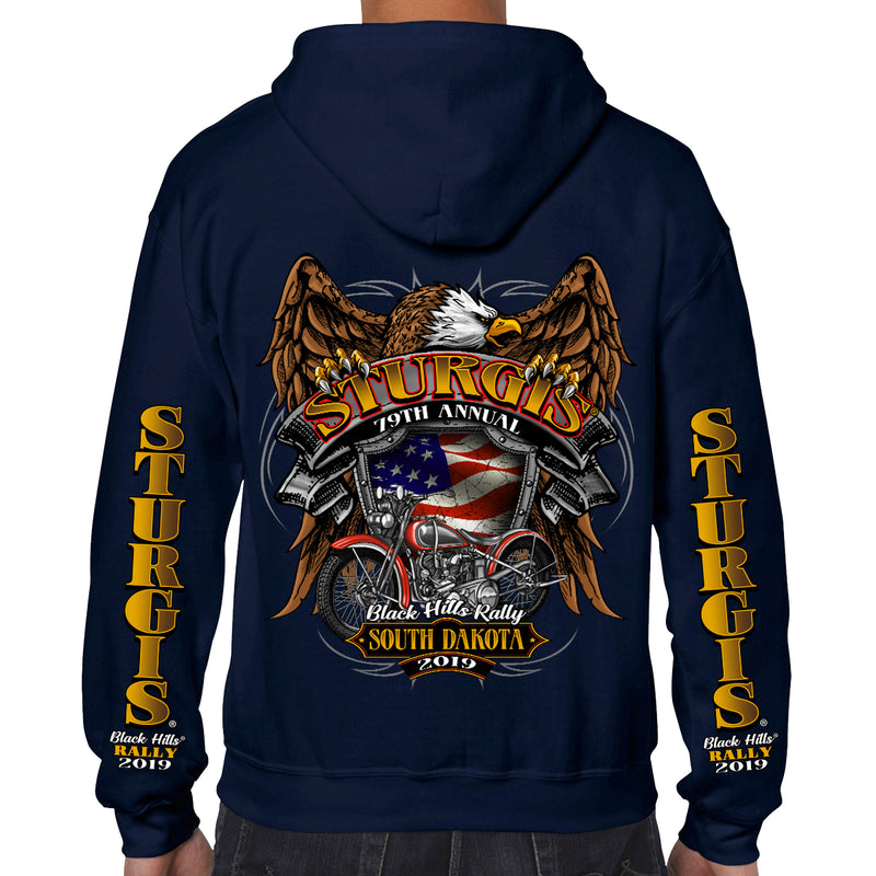 Back of 2019 Sturgis Rebel Rider Zipper Hoodie in Navy Blue
