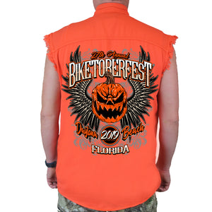 Back of 2019 Biketoberfest Pumpkin Cut-Off Denim in Orange
