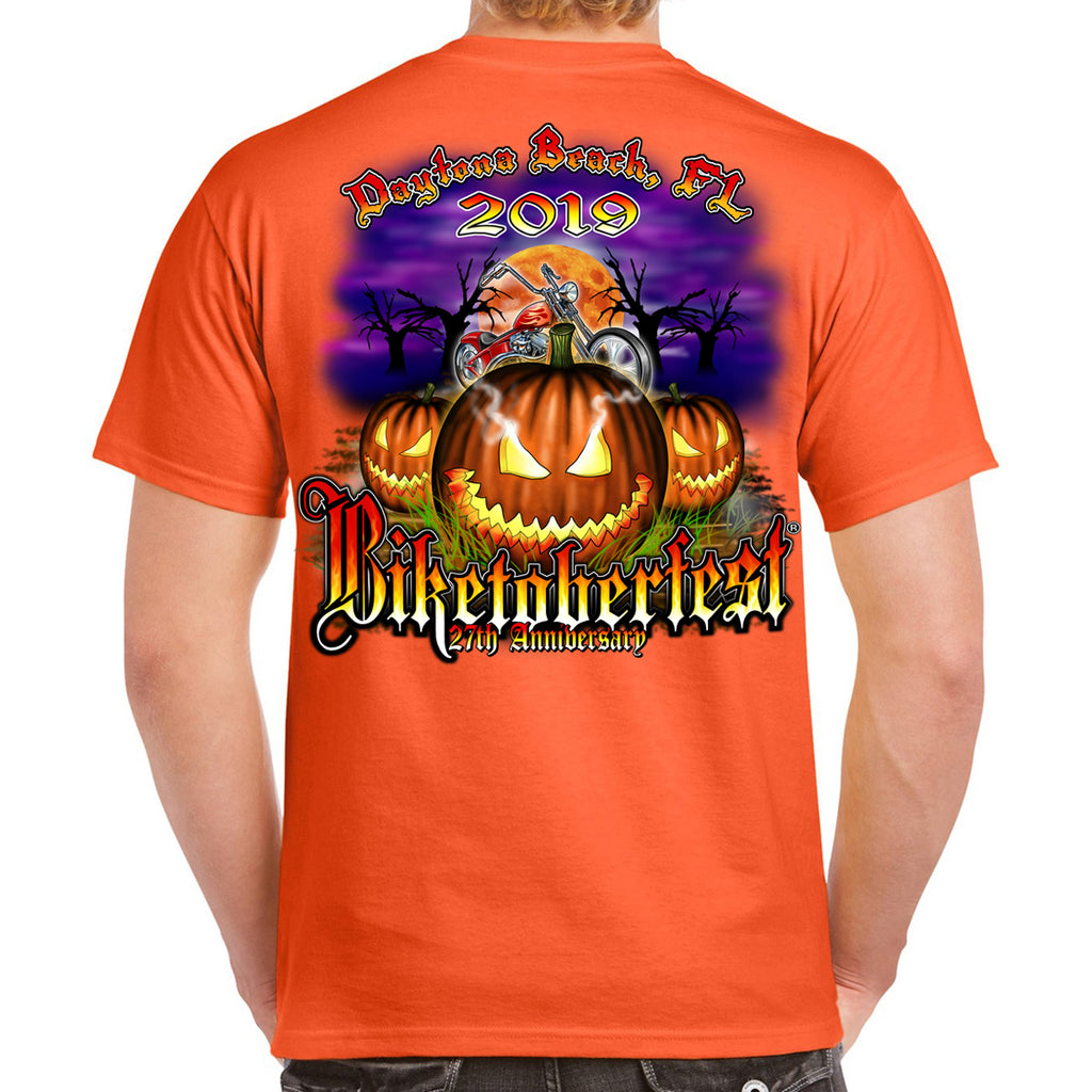 Back of 2019 Biketoberfest Jack O'Lantern Pumpkin Orange