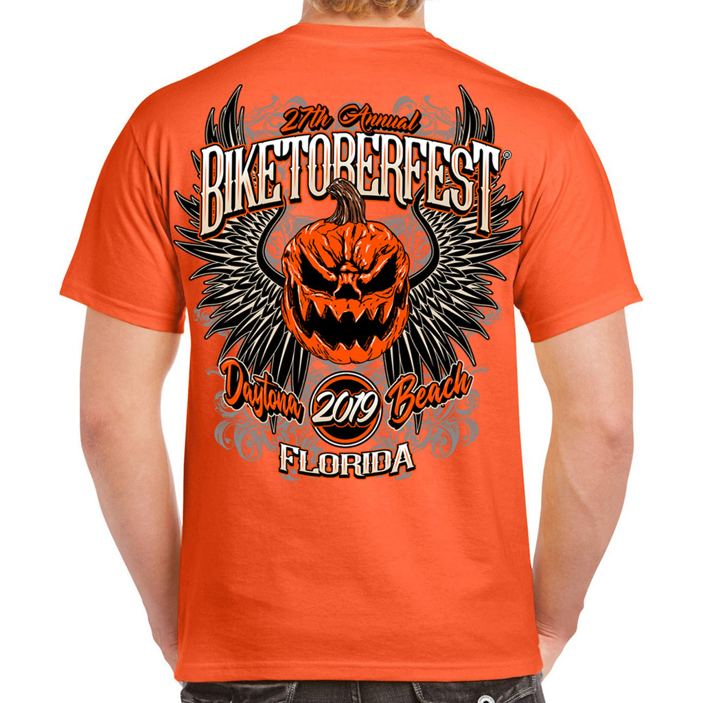 2019 Biketoberfest Pumpkin Halloween T-Shirt Orange Back