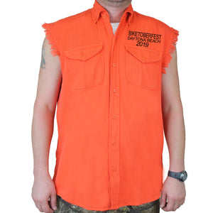 Front of 2019 Biketoberfest Pumpkin Cut-Off Denim in Orange