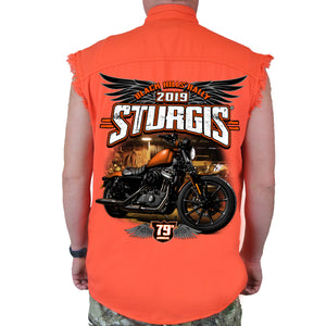 Back of 2019 Sturgis Dark Side Cut Off Denim in Orange