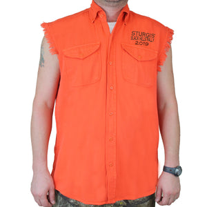 Front of 2019 Sturgis Dark Side Cut Off Denim in Orange