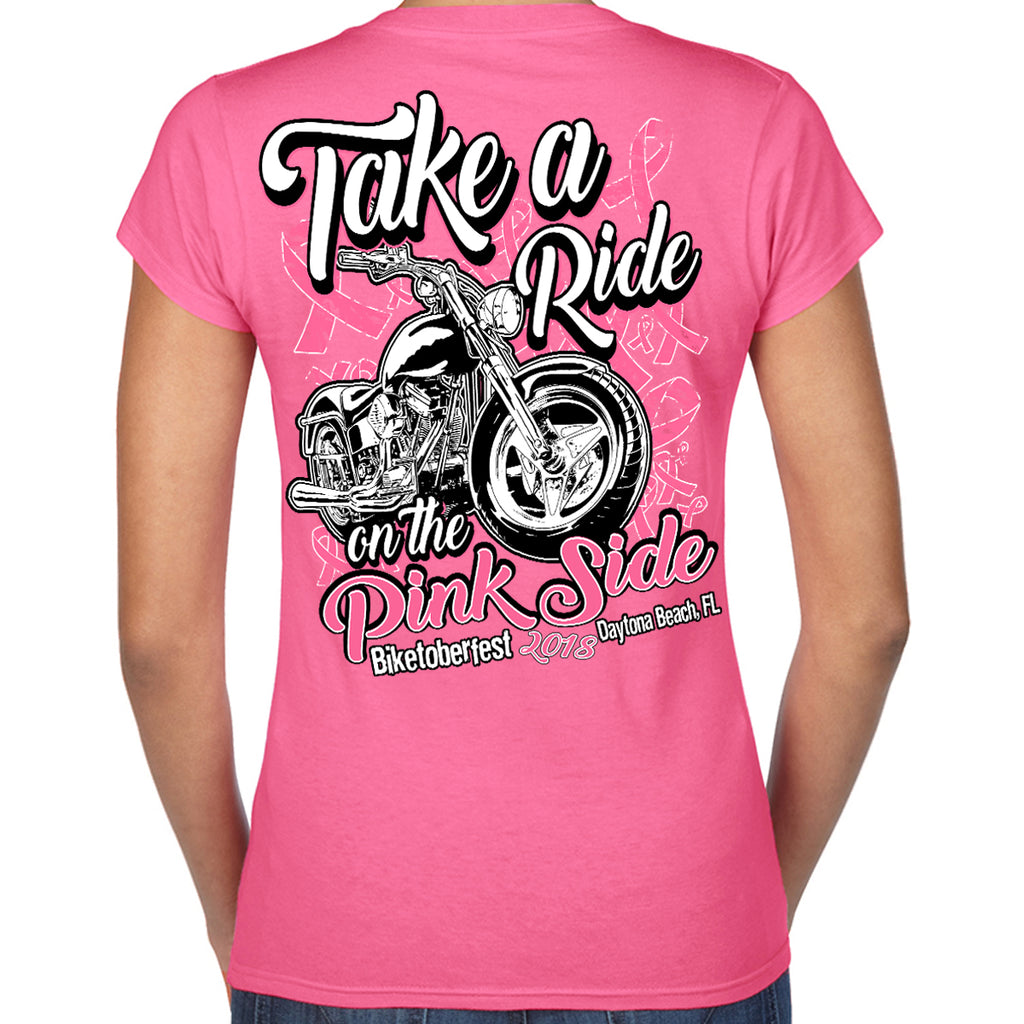 Ladies 2018 Biketoberfest Daytona Beach Take A Ride On The Pink Side V-Neck T-Shirt