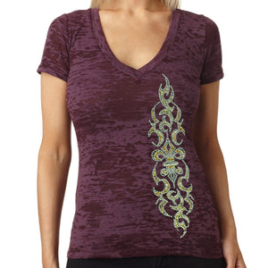 Ladies Rhinestone Tribal Fleur de Lis Burnout V-Neck T-shirt
