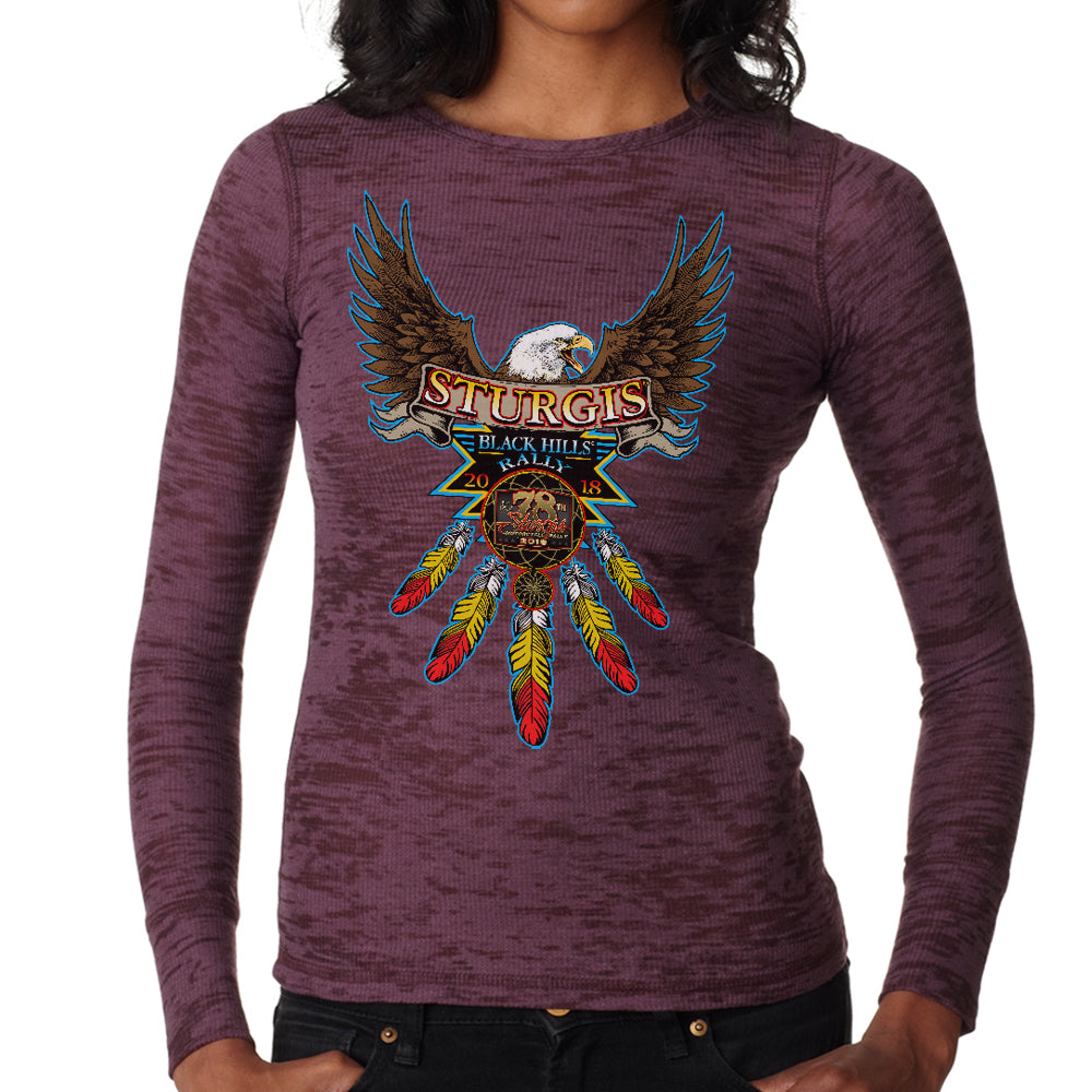 Ladies 2018 Sturgis Black Hills Rally Native Biker Burnout Thermal Long Sleeve