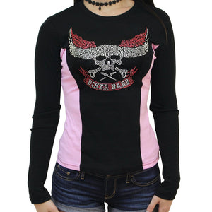 Ladies Rhinestone Biker Babe Skull Color Block Long Sleeve Crew Neck Top