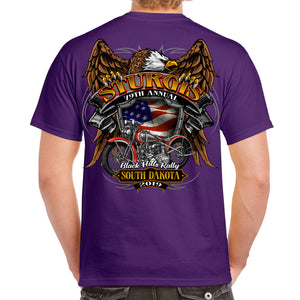 Back of 2019 Sturgis Rebel Rider T-Shirt in Purple