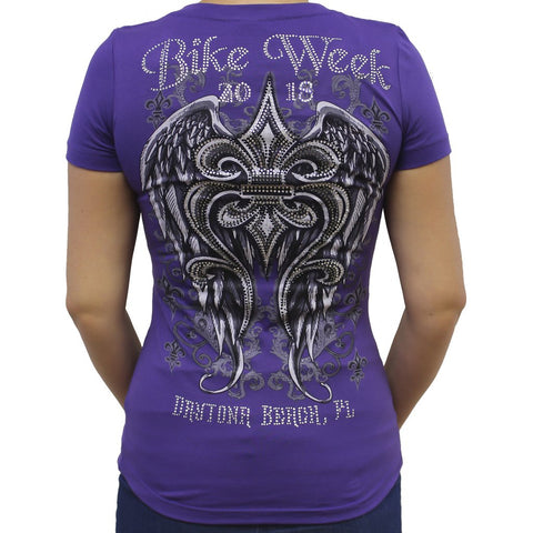 Ladies 2018 Bike Week Daytona Beach Fleur De Lis Wings Rhinestone V-Neck T-shirt