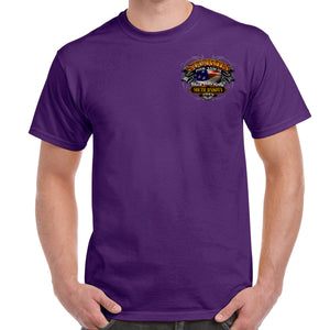 Front of 2019 Sturgis Rebel Rider T-Shirt in Purple