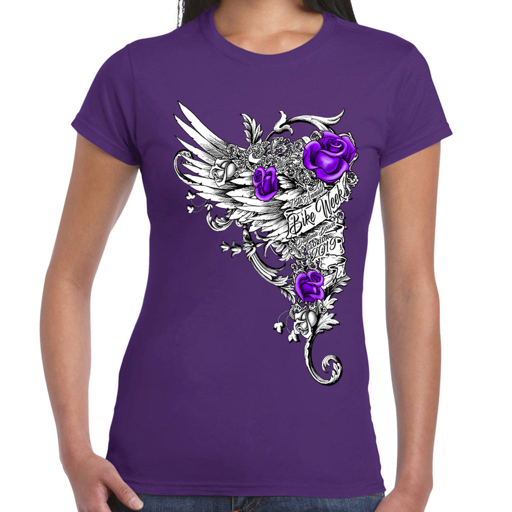 Ladies 2019 Bike Week Daytona Beach Roses Wings T-Shirt