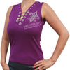 Ladies Biker Wings Heart V-Neck Rhinestone Shirt