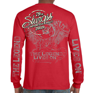 Back of 2019 Sturgis Legend Engine Long Sleeve in Red