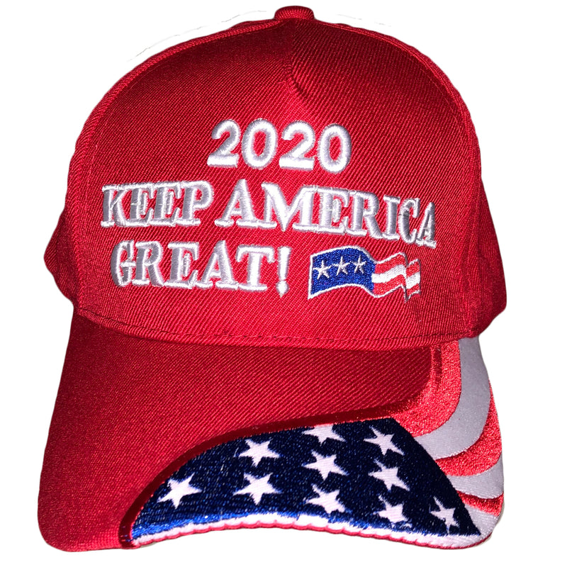 Back of Trump 2020 Keep America Great Red Flag Hat
