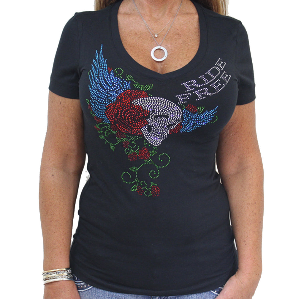 Ladies Ride Free Rose Skull Rhinestones V-Neck Cap Sleeve T-shirt