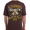 Back of 2019 Sturgis Main Street Engine T-Shirt in Brown