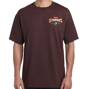 Front of 2019 Sturgis Dark Side T-Shirt in Brown