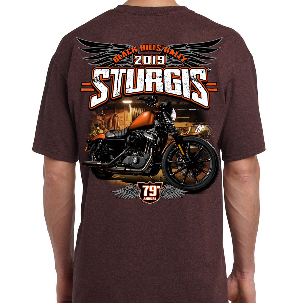 Back of 2019 Sturgis Dark Side T-Shirt in Brown