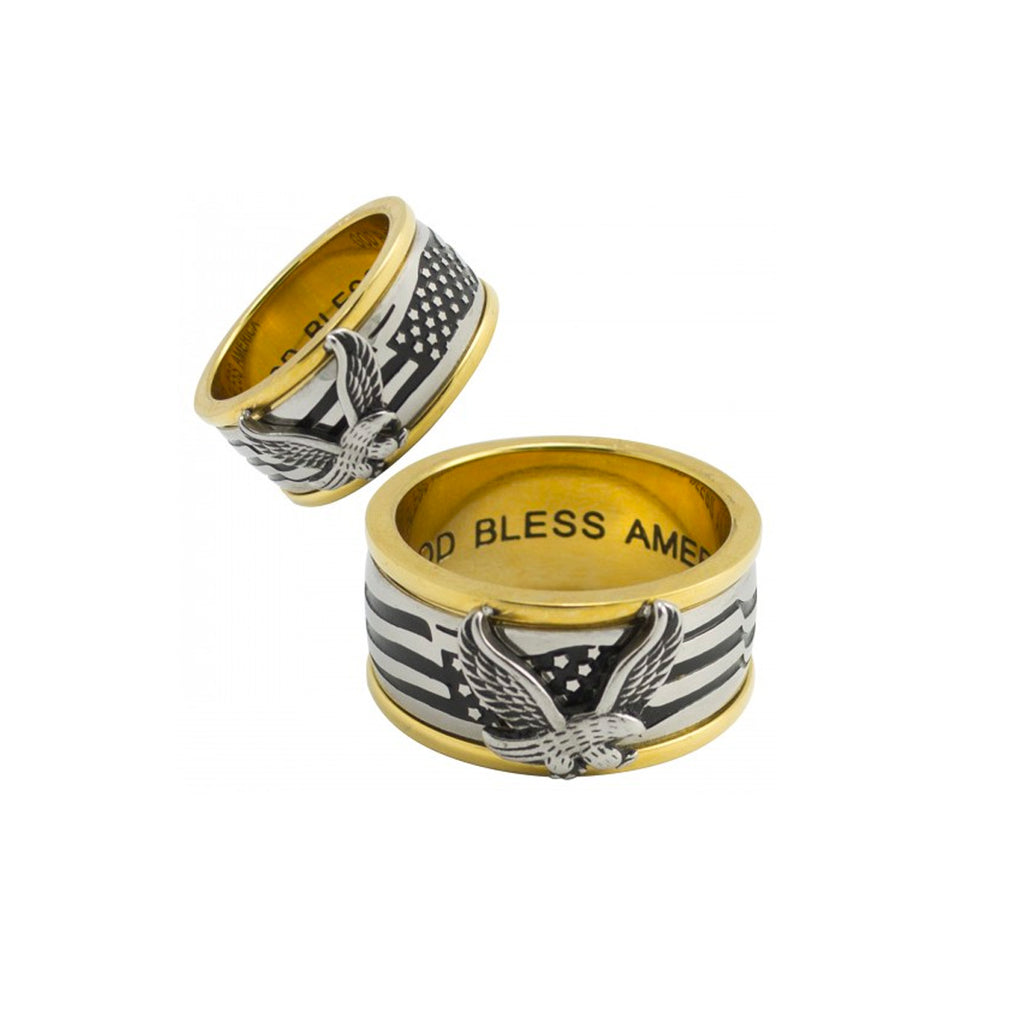 Two Tone God Bless USA Eagle Spinner Stainless Steel Biker Ring