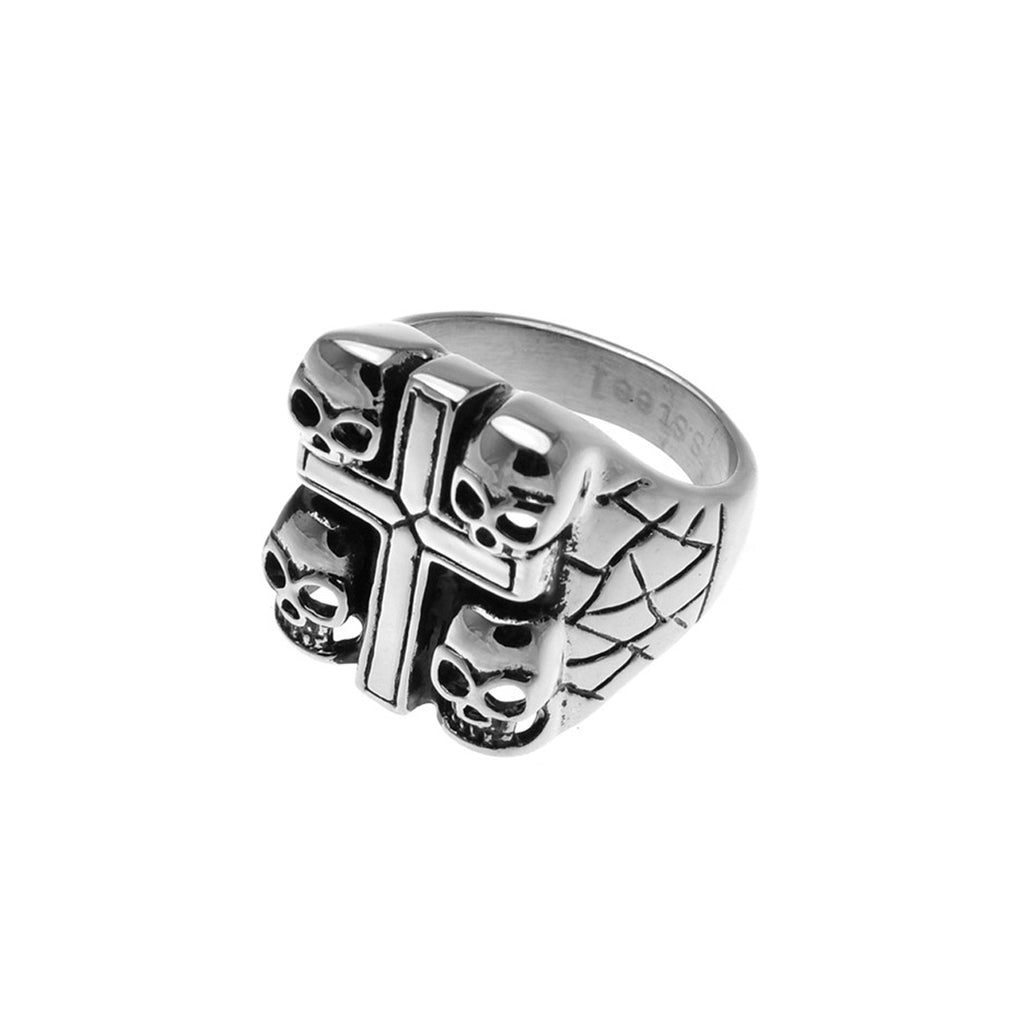 Four Skull Cross Stainless Steel Biker Ring