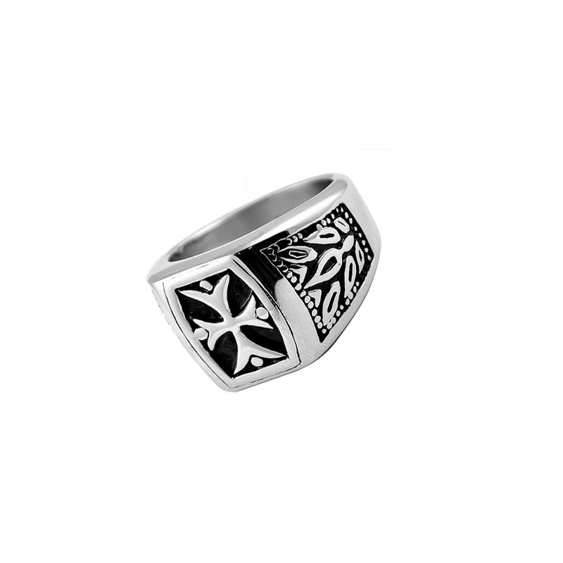 Maltese Cross & Tribal Stainless Steel Biker Ring