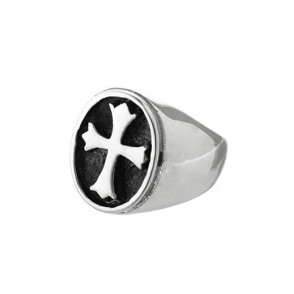 Rounded Cross Stainless Steel Biker Ring