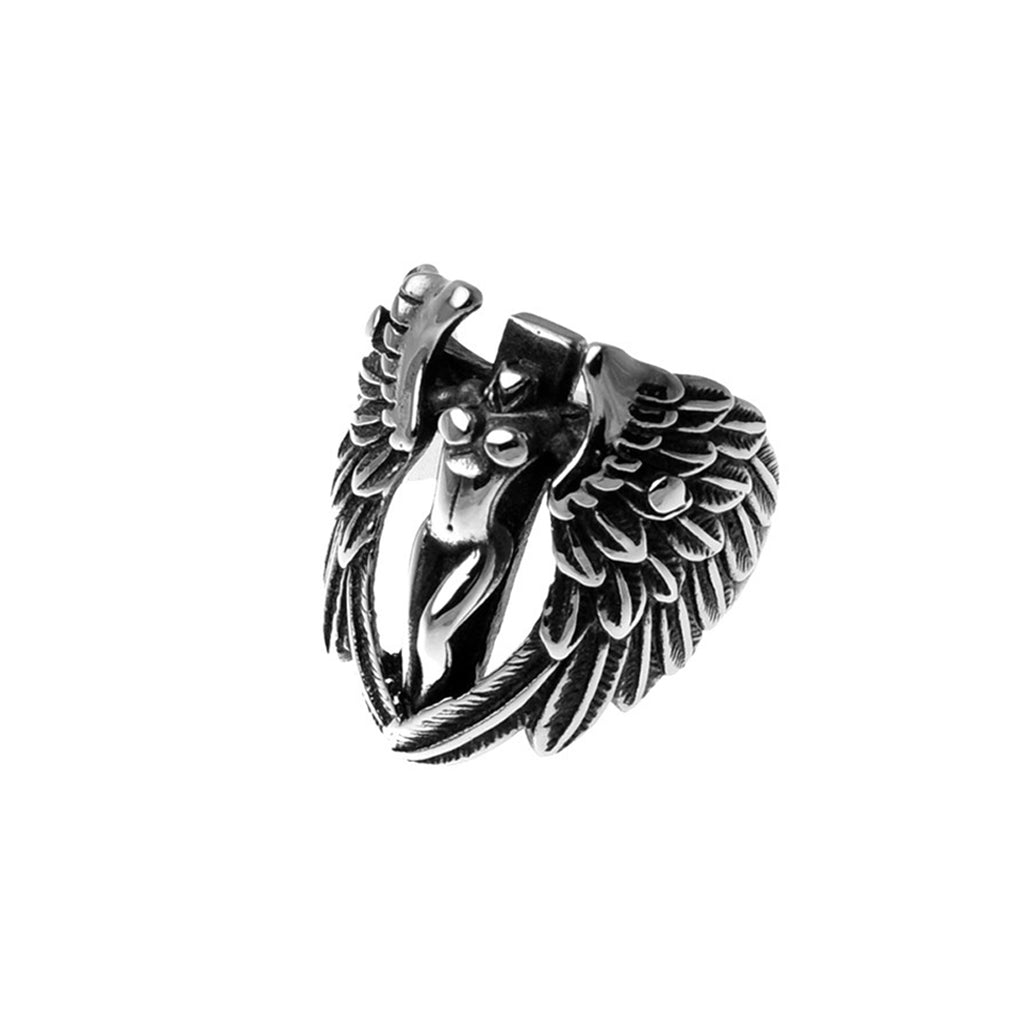 Winged Female Angel Stainless Steel Biker Ring