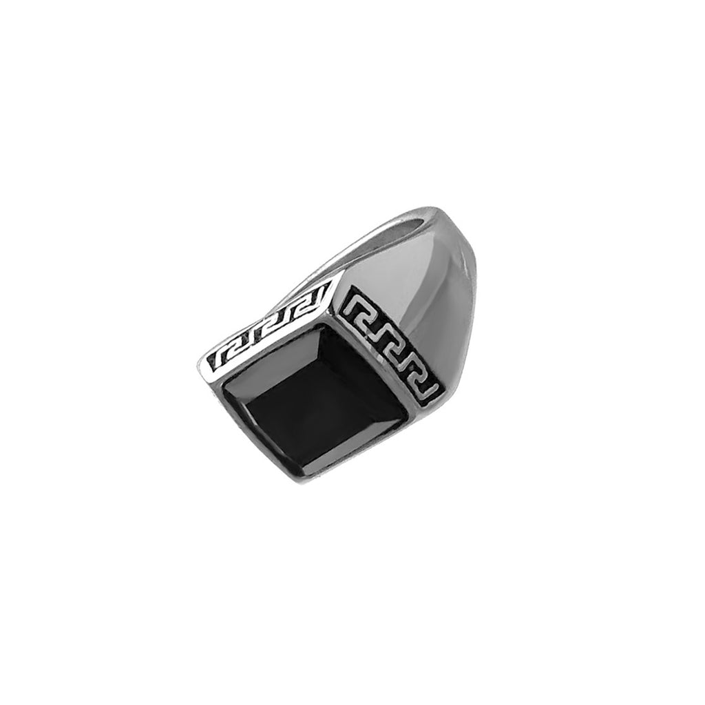 Black Stone Greek Engraved Stainless Steel Biker Ring