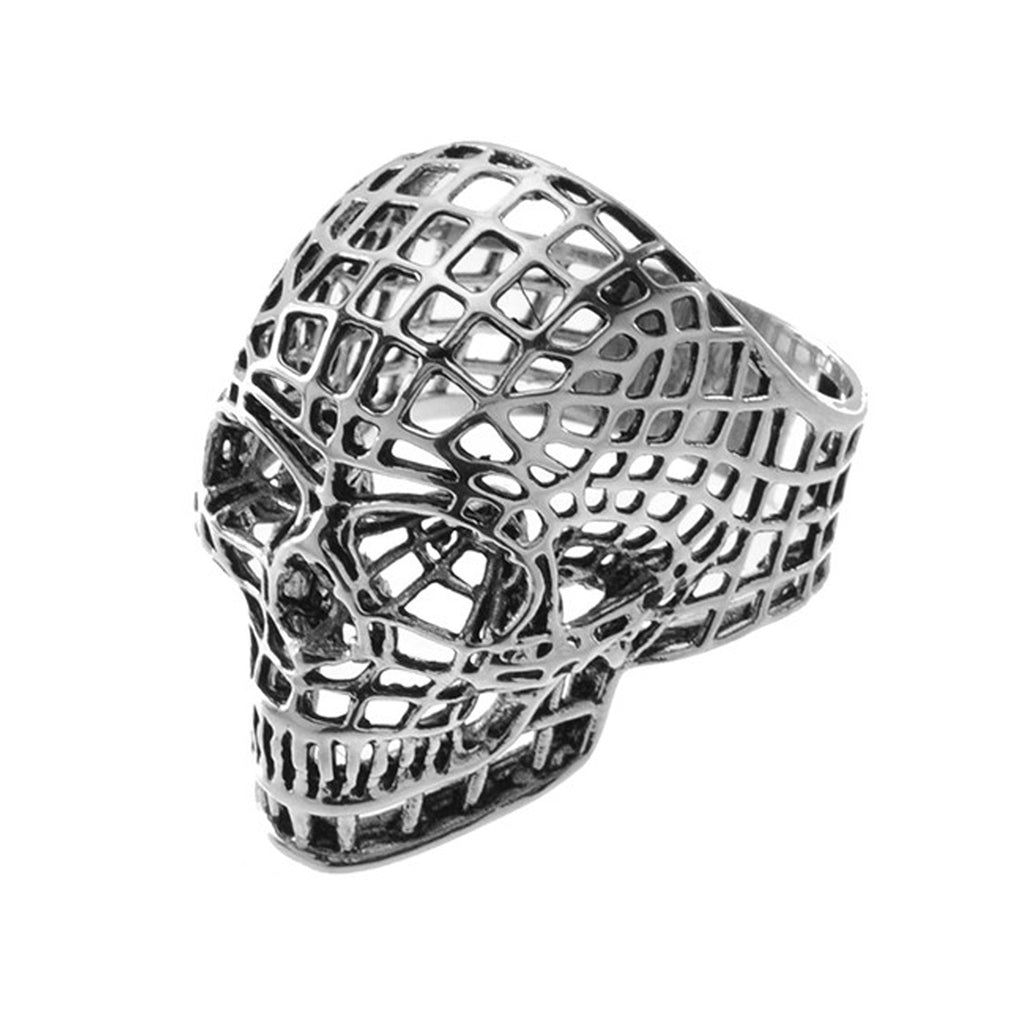 Skull Head Webbing Design Stainless Steel Biker Ring