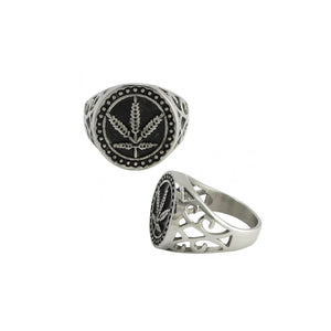 Hemp Wave Stainless Steel Biker Ring