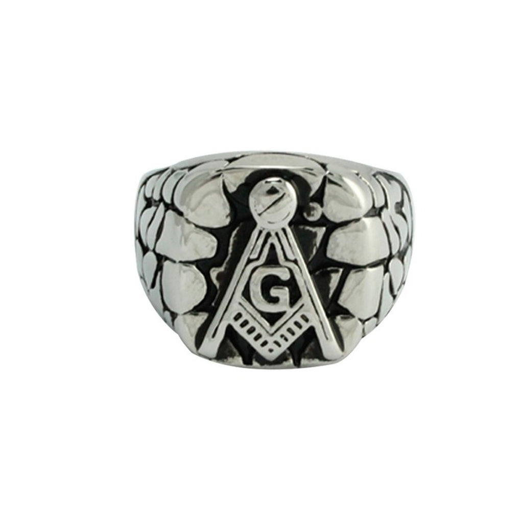 Textured Masonic Stainless Steel Biker Ring