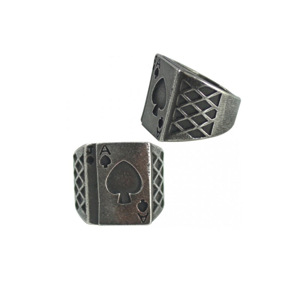 Ace Of Cards Stainless Steel Biker Ring