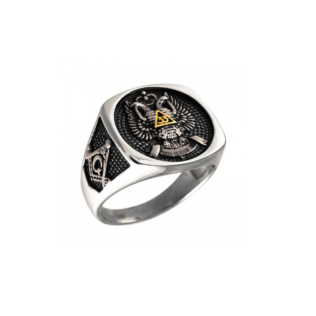 Scottish Rite 33rd Degree Masonic Signet Stainless Steel Biker Ring